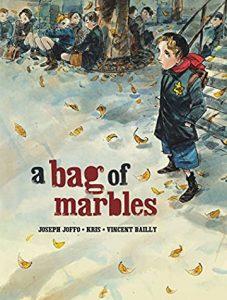 Jacket art for graphic novel A Bag of Marbles
